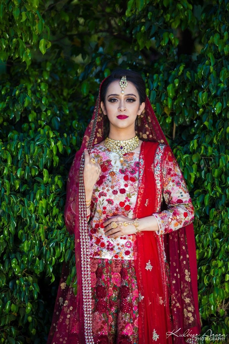 Photo of Lehenga with floral embroidery and long blouse offbeat