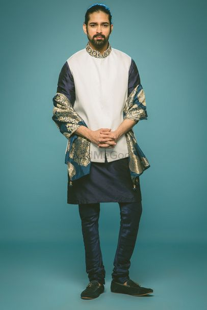 Photo of white nehru jacket with embroidery