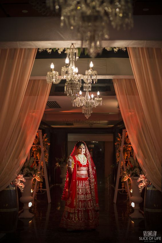 Photo of Classic red and gold bridal lehenga