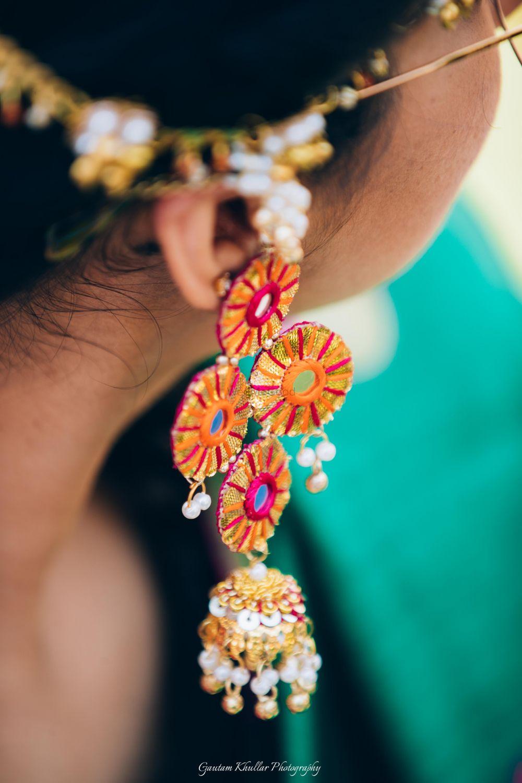 Photo of Gota jewellery with mirror earrings for mehendi
