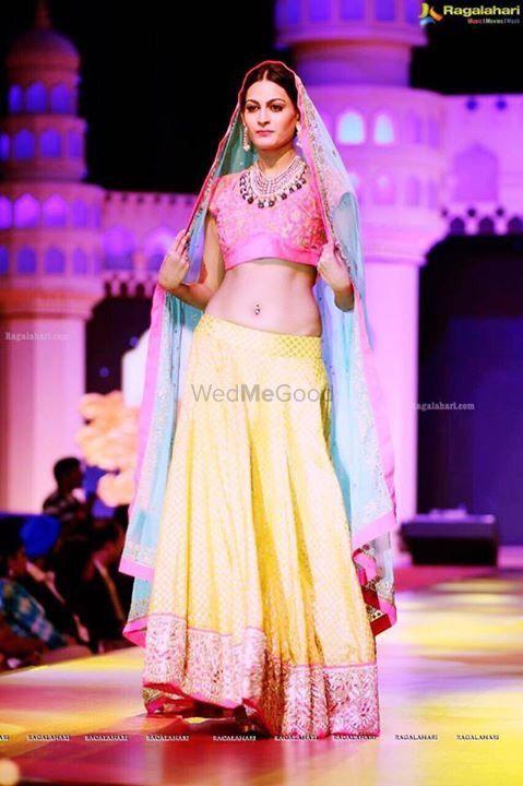 Photo of Blush Pink and Yellow Lehenga with Pastel Blue Dupatta