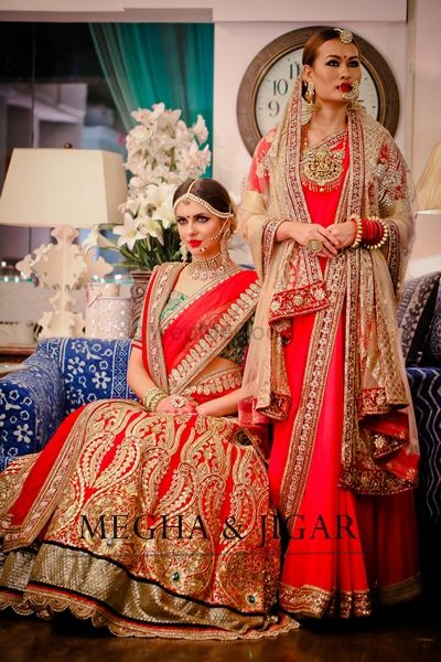 Photo of red bridal lrhrngs. red sraee