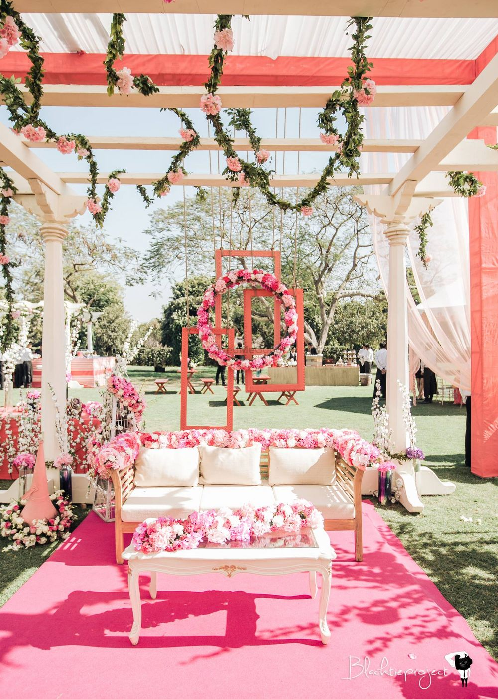 Photo of White and pink floral decor idea for engagement