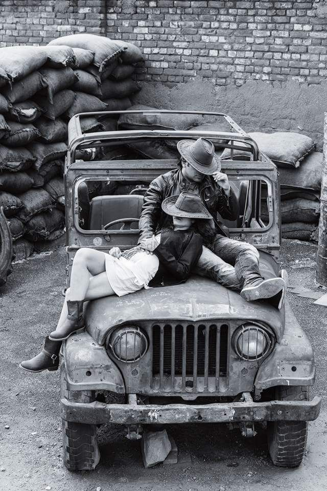 Photo of Black and White Pre Wedding Shoot on Old Jeep