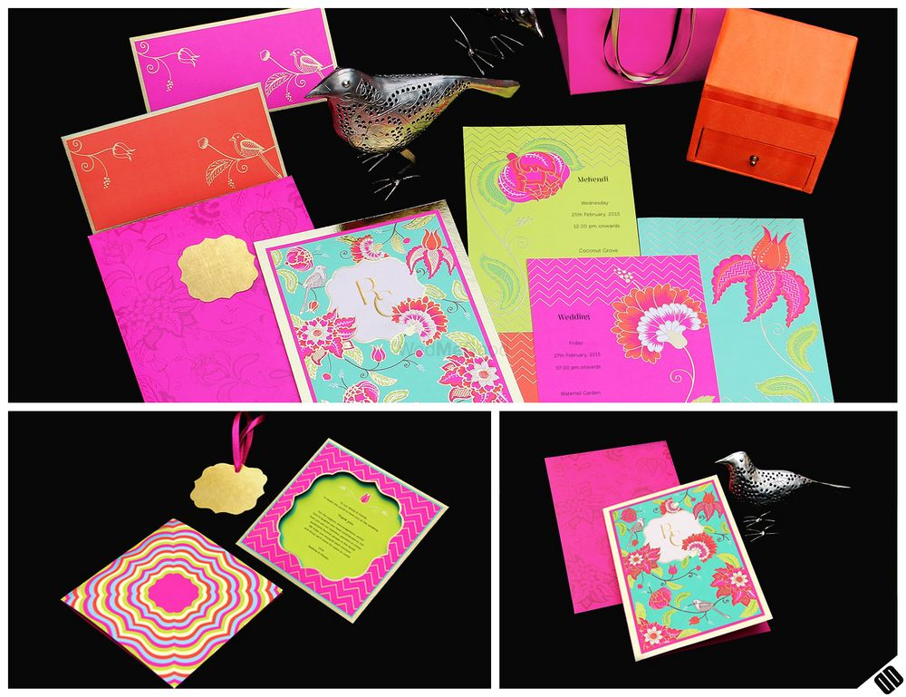 Photo of neon pink wedding cards