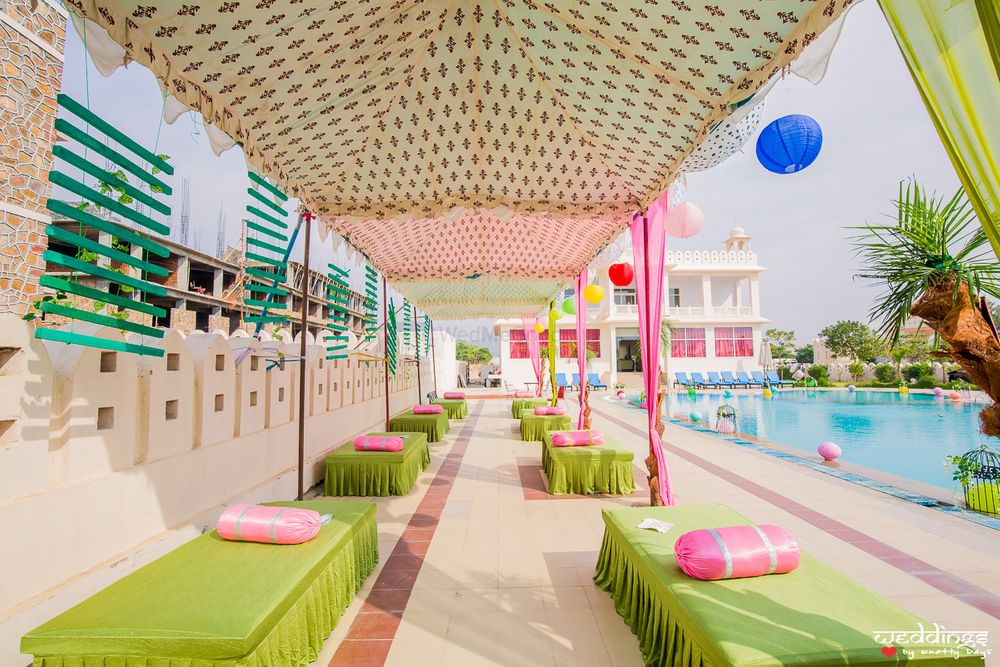 Photo of Mehendi seating idea and printed tent