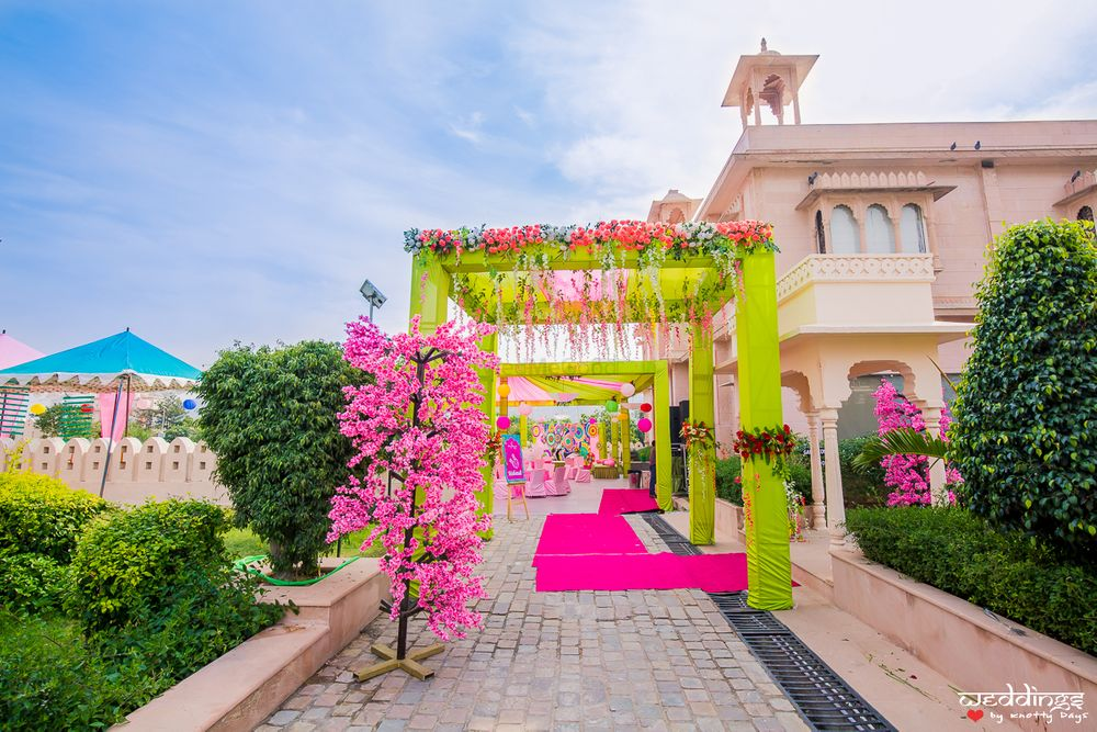 Photo of Lime green and pink mehendi entrance decor ideas