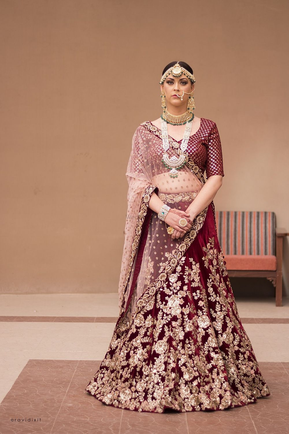 Photo of Maroon zardozdi work bridal lehenga