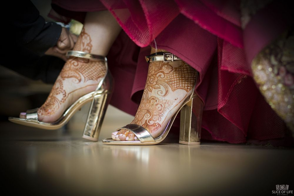 Photo of Gold bridal heels simple
