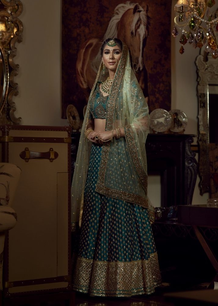 Photo of Teal and light green lehenga for bride