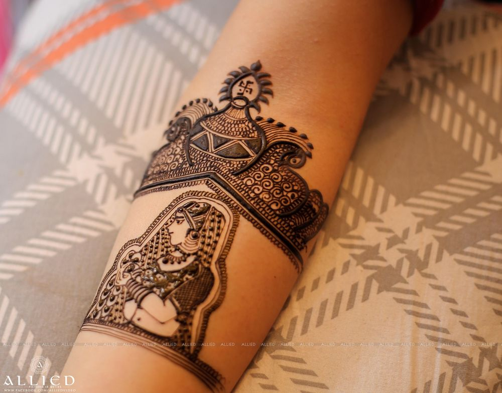 Photo of Traditional mehendi design with bridal portrait