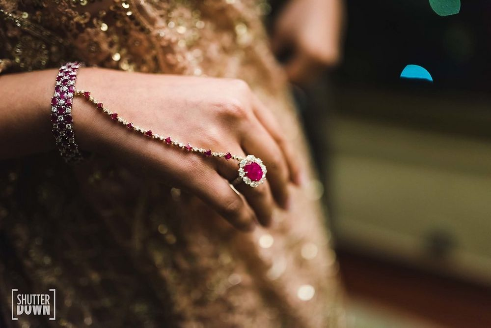 Photo of Modern bridal haathphool with ruby