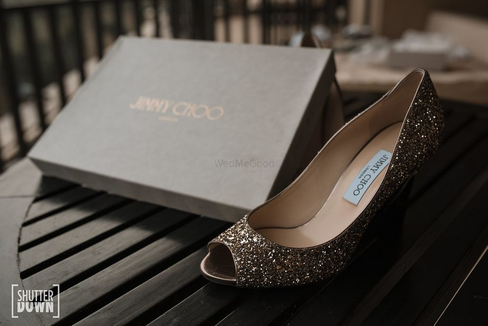 Photo of Sparkly silver bridal jimmy choo shoes