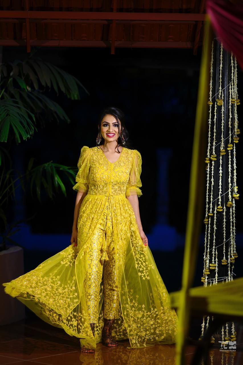 Photo of yellow indo western outfit for mehendi