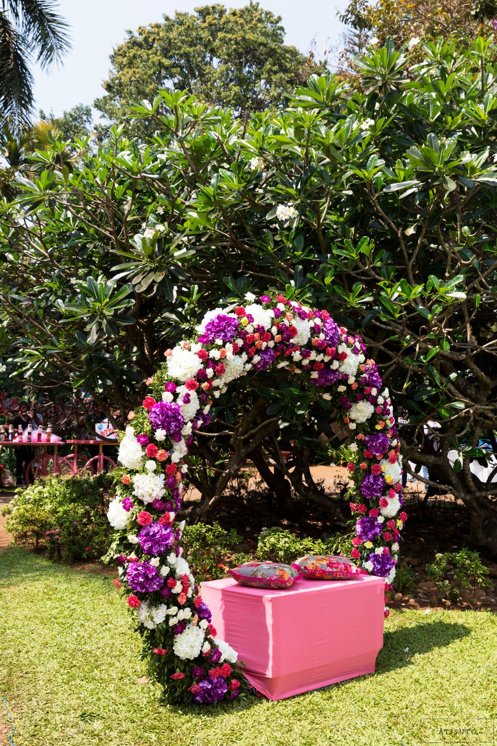 Photo of Floral wreath seating for a bride on a mehendi function