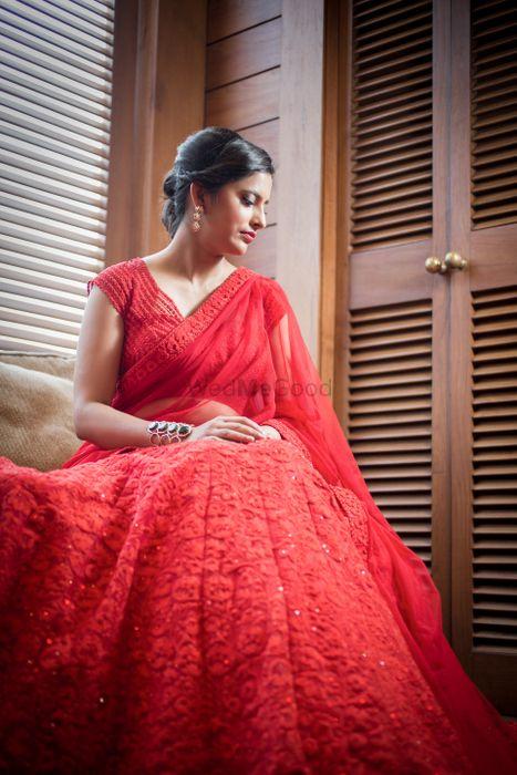 Photo of red modern bridal lehenga