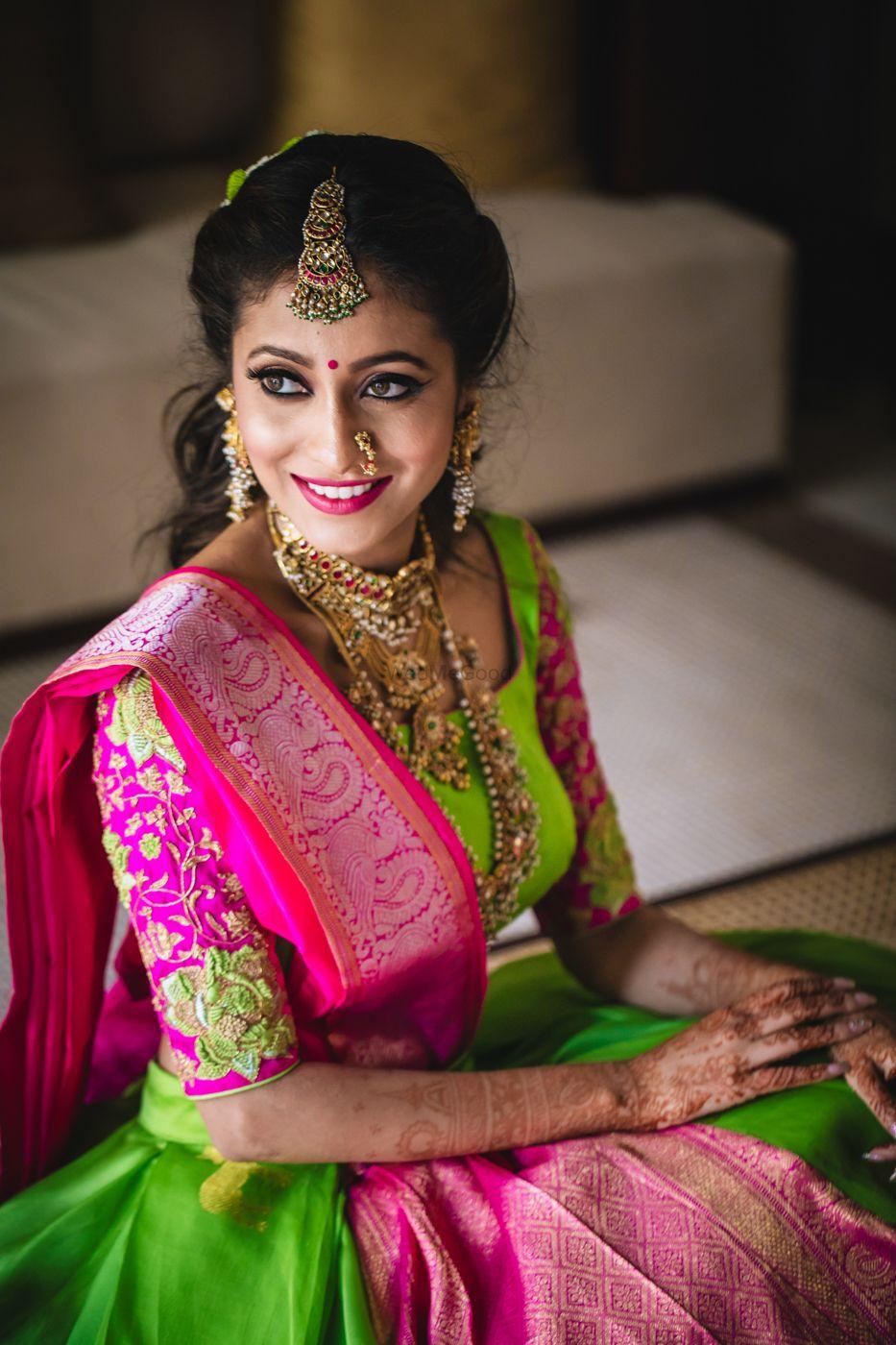 Photo of Mehendi bridal look in parrot green lehenga