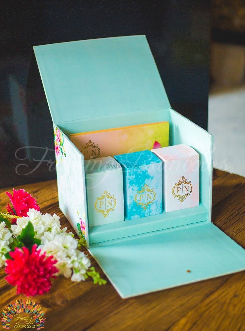 Photo of Personalised wedding box with card and favour
