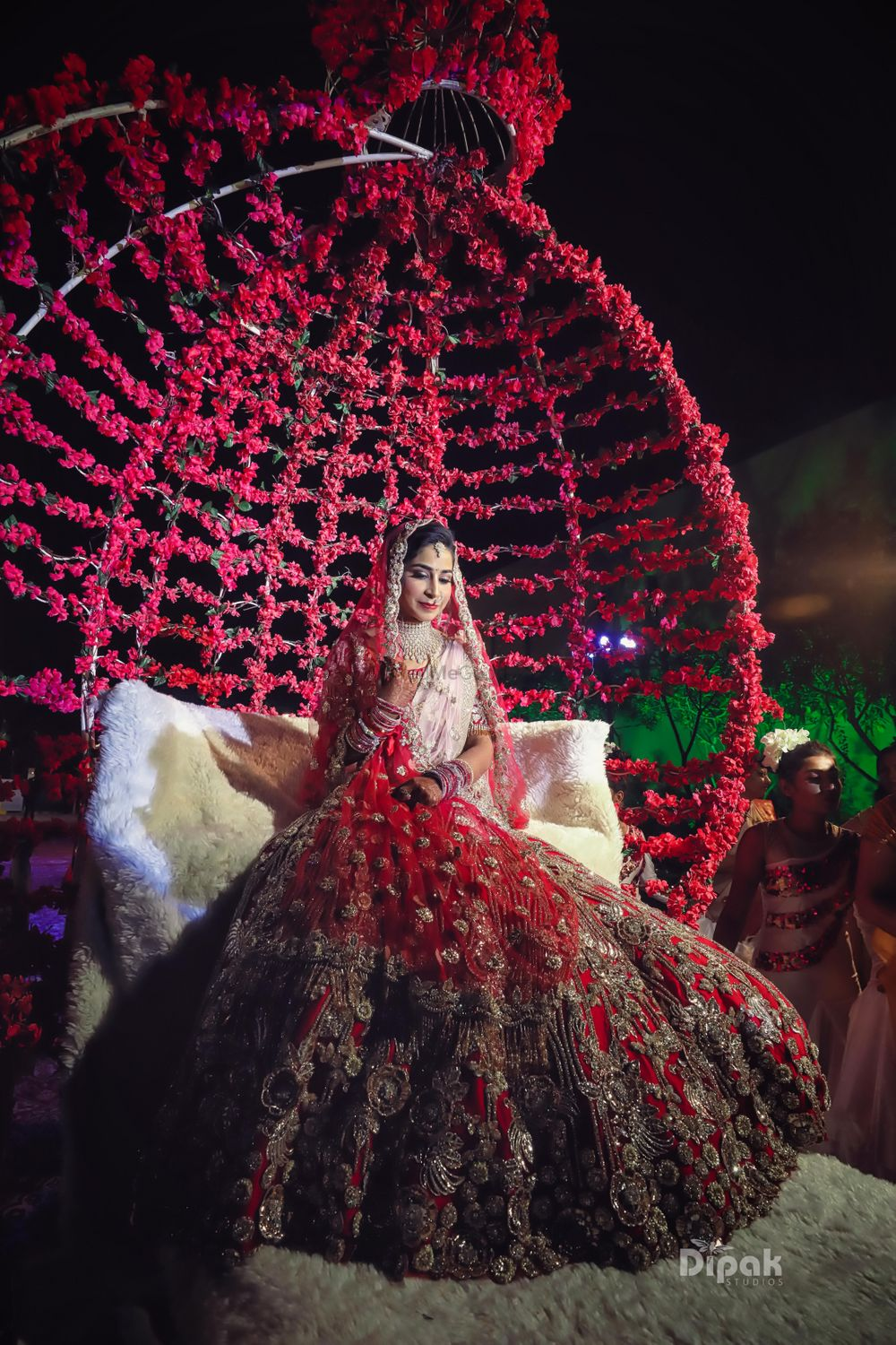 Photo of Grand bridal entry on floral chariot