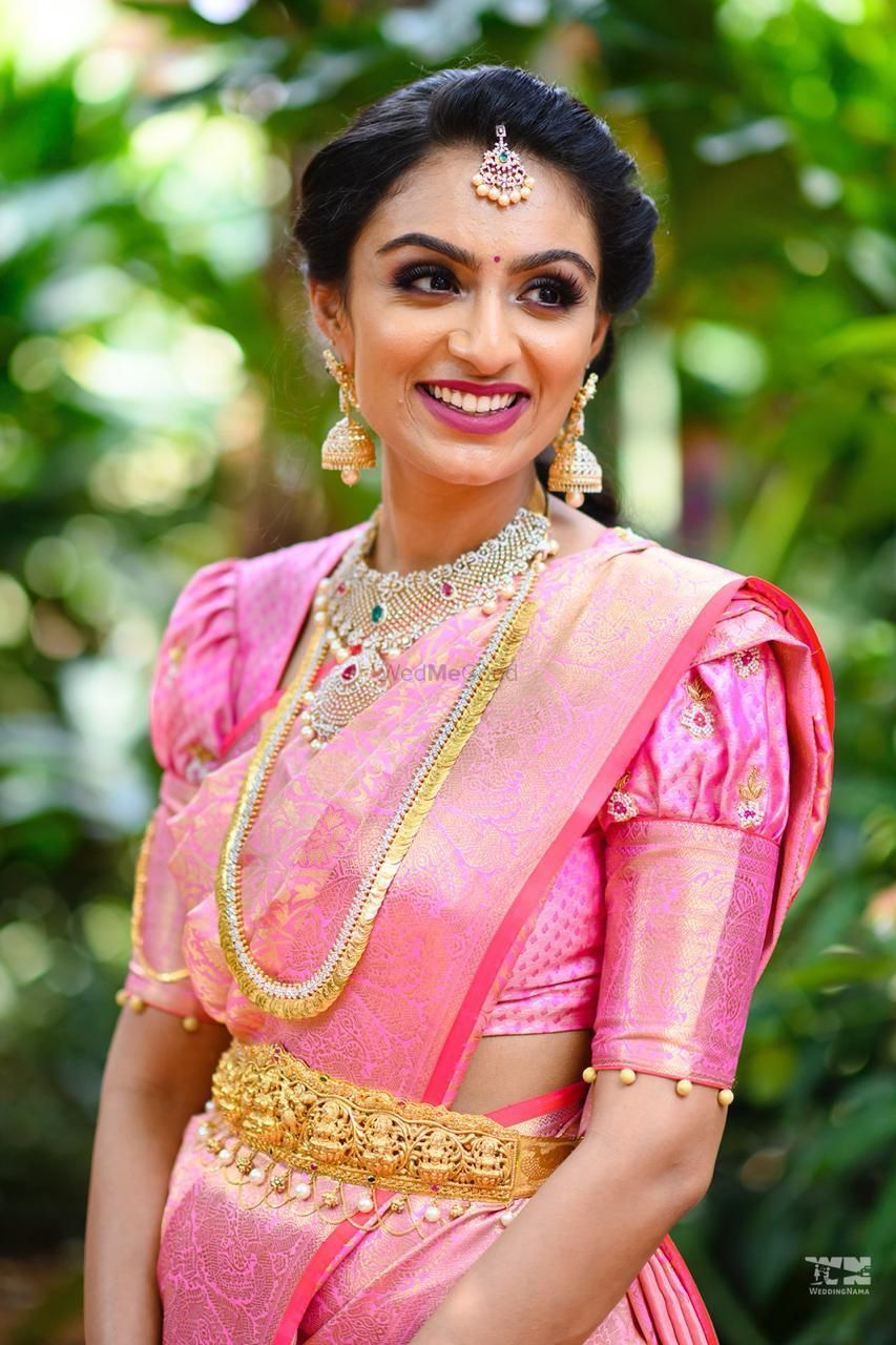 Photo of south indian bridal blouse design with poufy sleeves