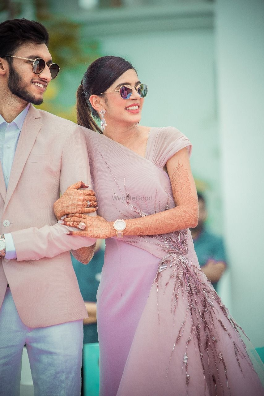 Photo of Mehendi bridal look with lilac gown