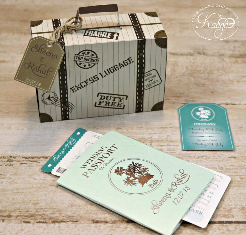 Photo of Unique passport theme wedding card with box