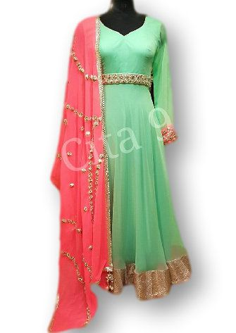 Photo of mint and pink anarkali