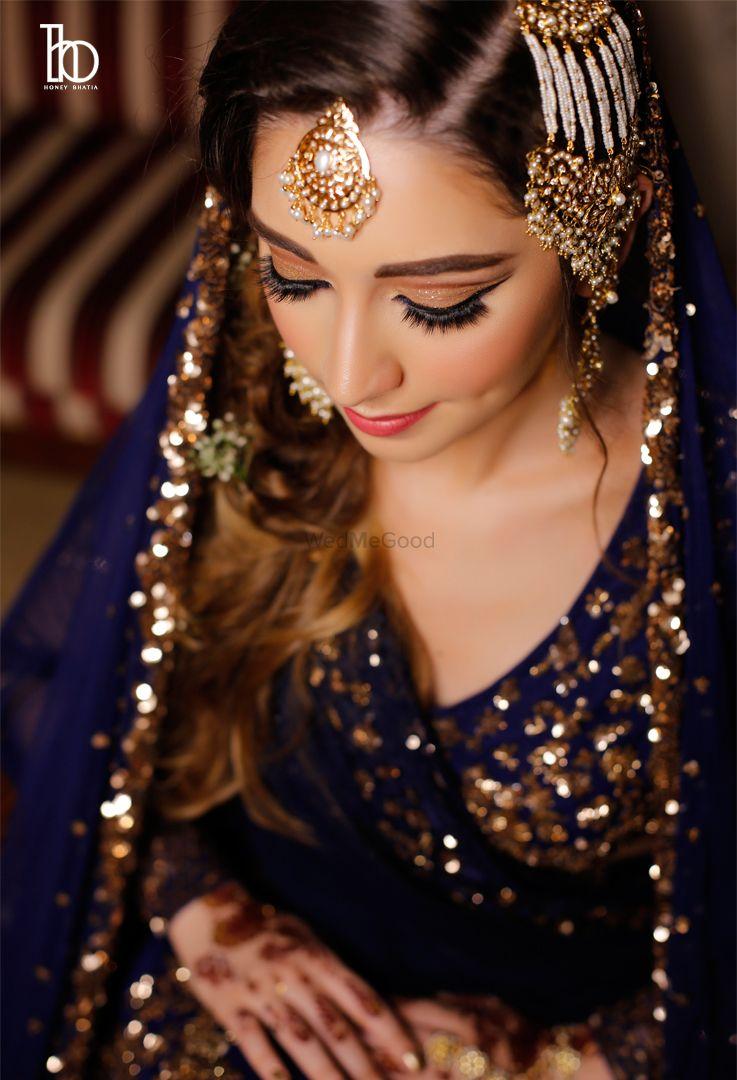 Photo of Muslim bridal look with pearl jhoomer