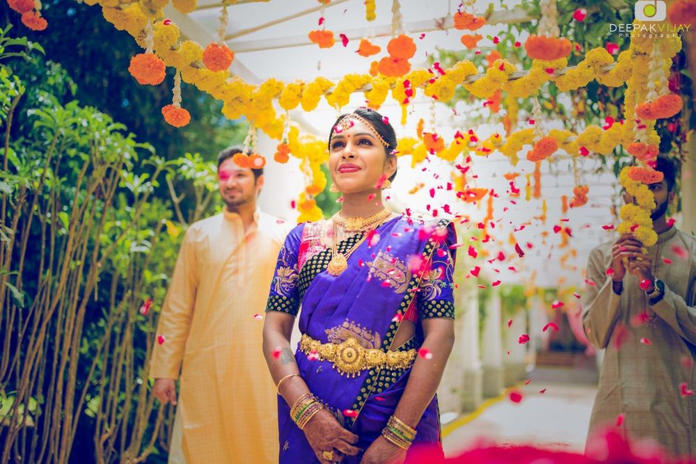 Photo of South Indian bride under phoolon ka chadar
