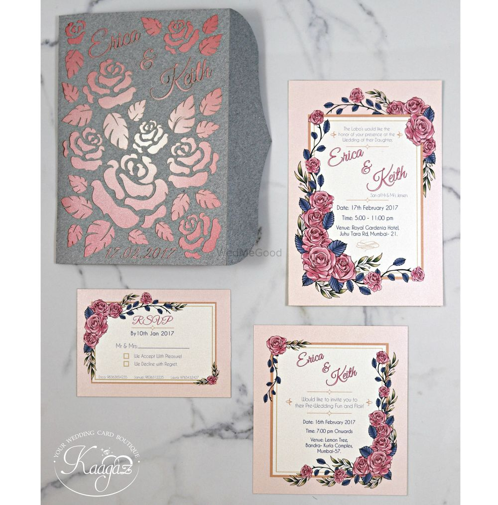 Photo of Modern wedding card with rose theme