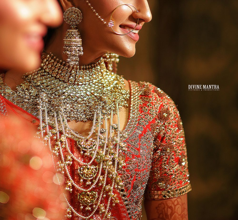 Photo of Bridal satlada necklace layered with bib necklace