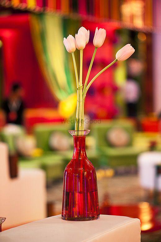 Photo of tulips inside glass bottles