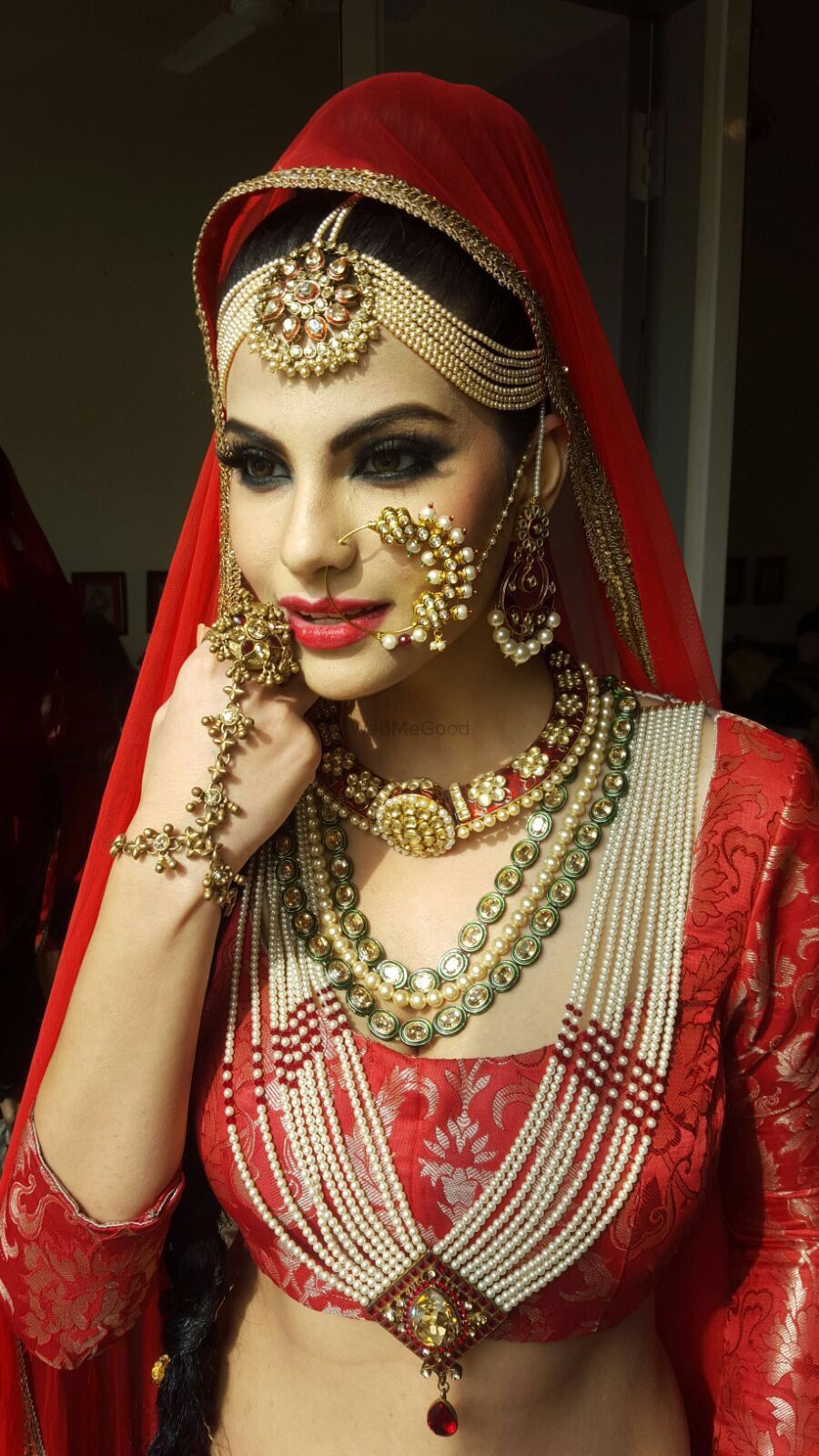 Photo of Gold Mathapatti with Pearls Rani Haar
