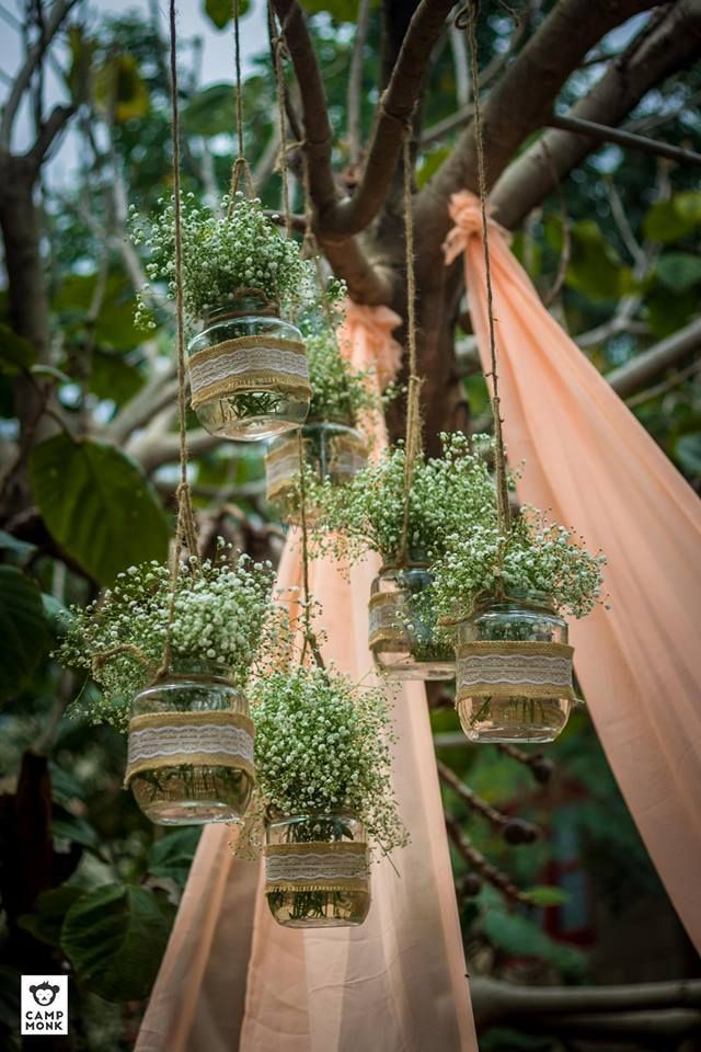 Photo of Rustic decor with hanging mason jars and babys breath