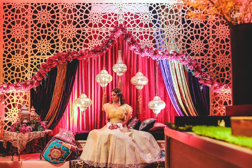 Photo of Moroccan theme mehendi stage decor