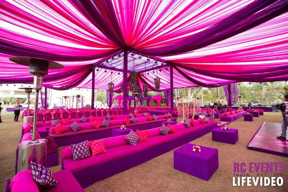 Photo of Purple and pink mehendi decor color scheme
