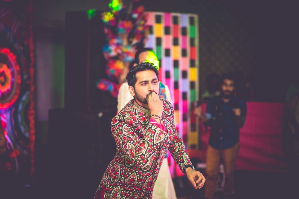 Red Groom Wear Photo sangeet outfit ideas