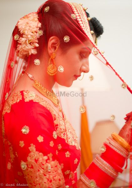 Photo of red net dupatta