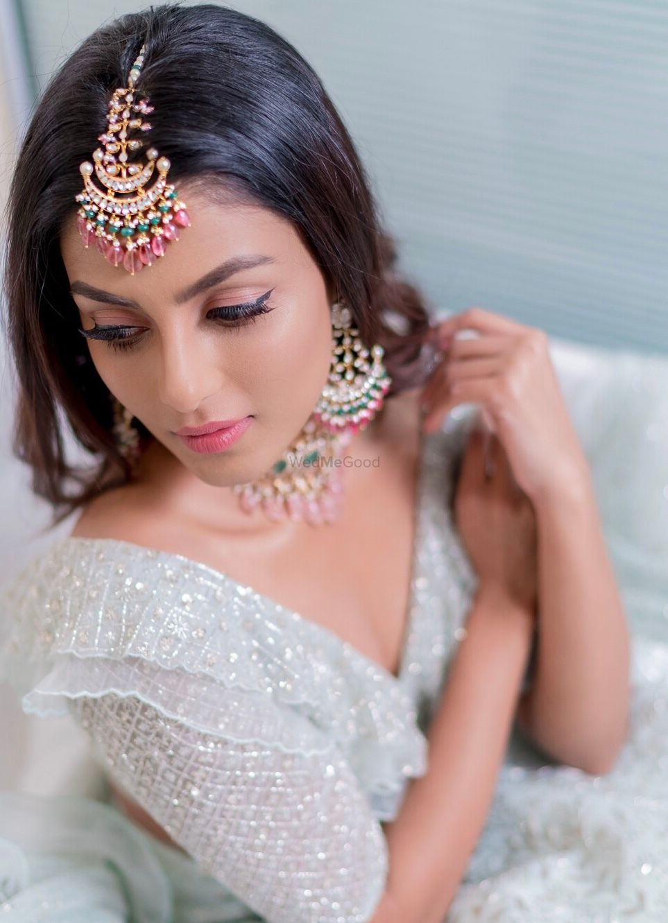 Photo of Unique maangtikka for engagement with silver lehenga