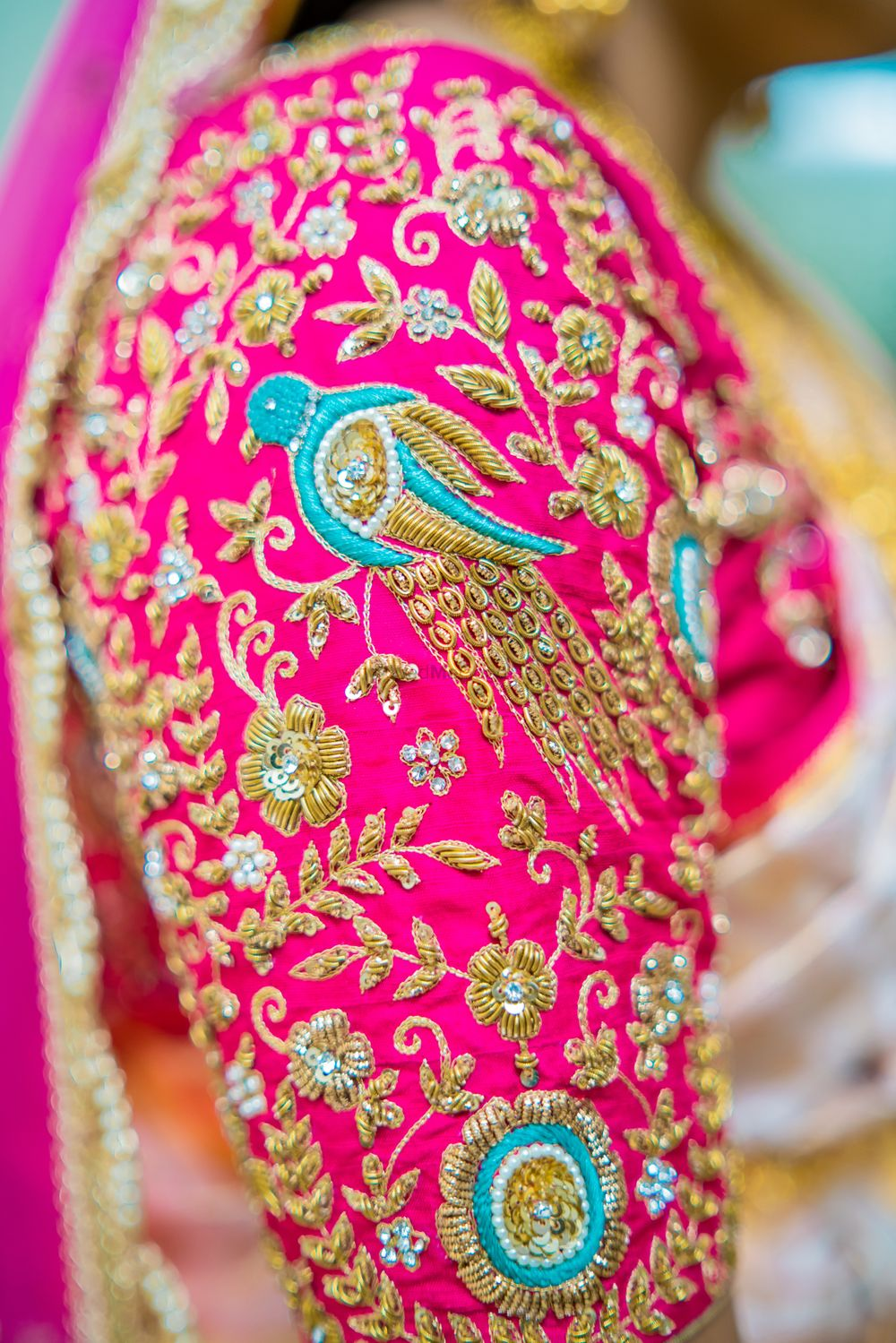Photo of Bird motif blouse for south indian bride