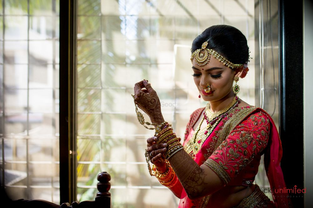 Photo of Bride getting ready shot wearing bangles