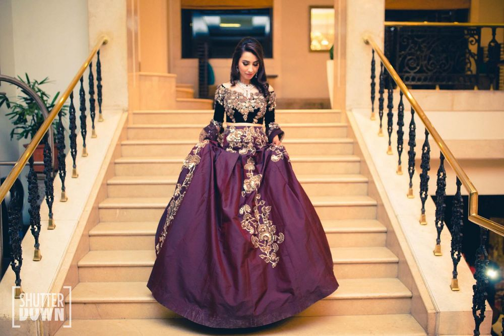 Photo of wine colored lehenga