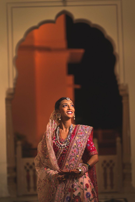 Photo of Double dupatta drape bridal portrait