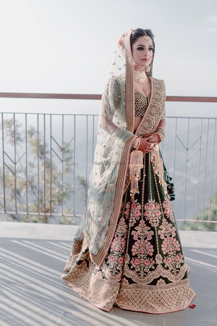 Photo of Offbeat bridal lehenga and look in teal lehenga