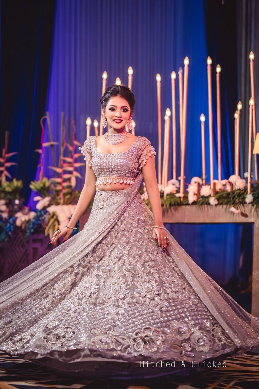Photo of Cocktail or reception lehenga in silver