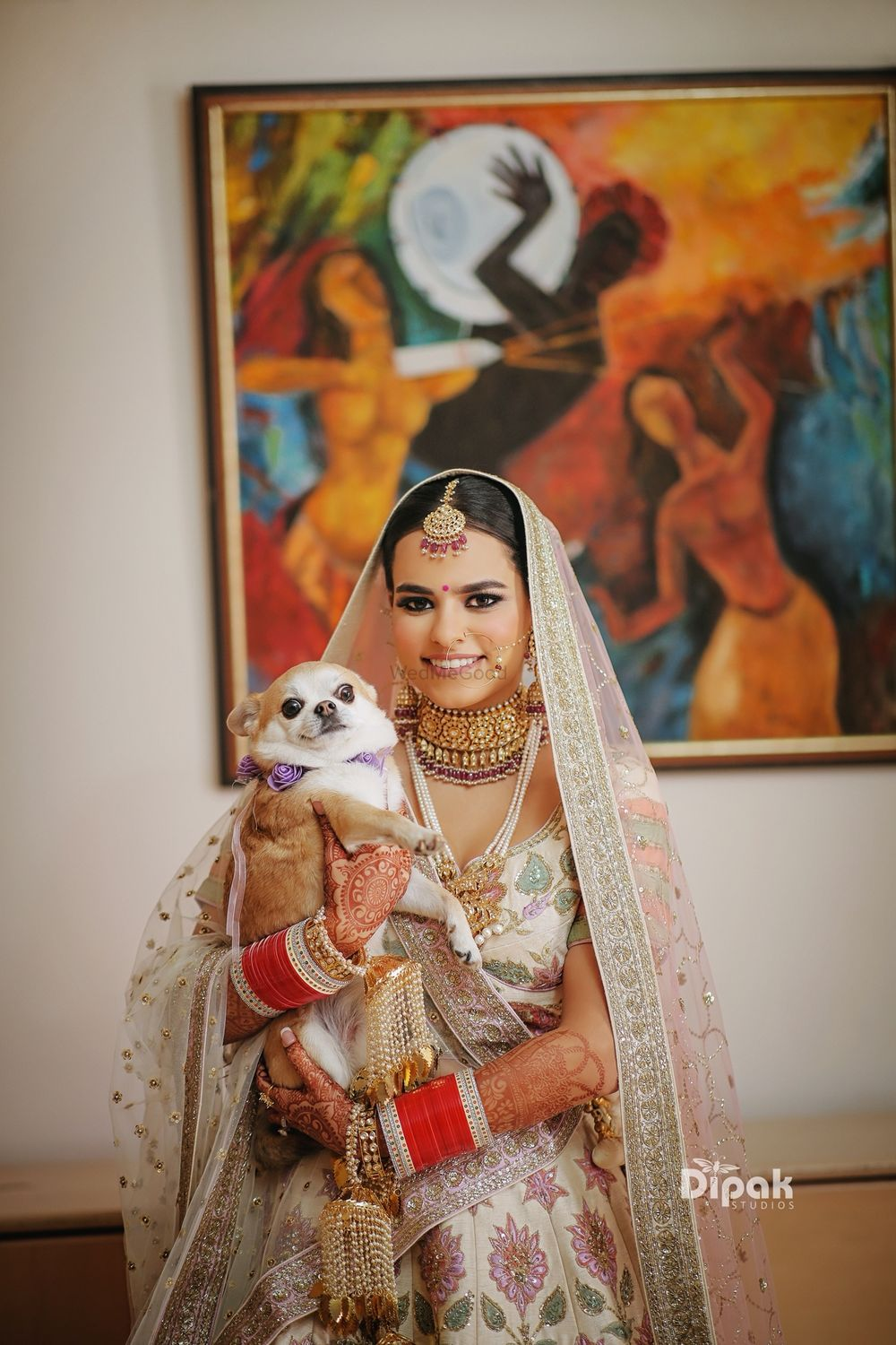 Photo of Bridal wedding day portrait idea with dog
