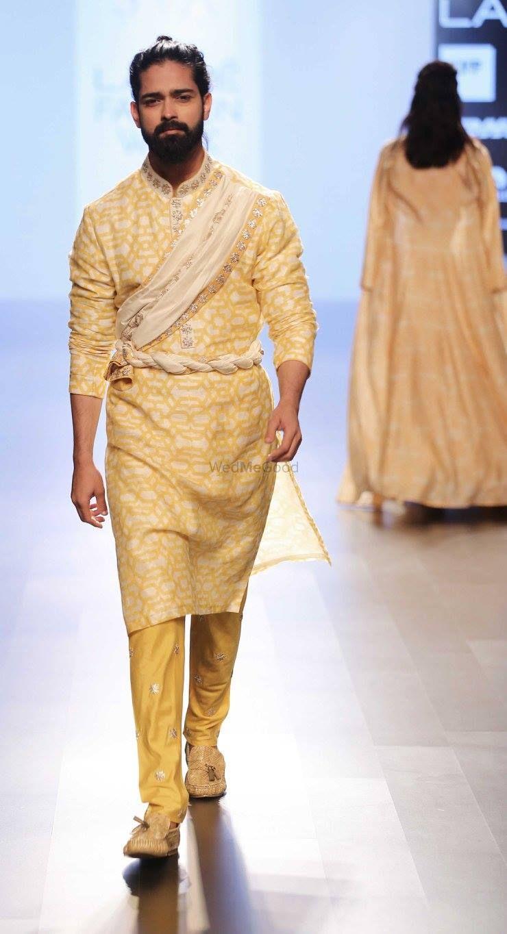 Photo of yellow and white print kurta