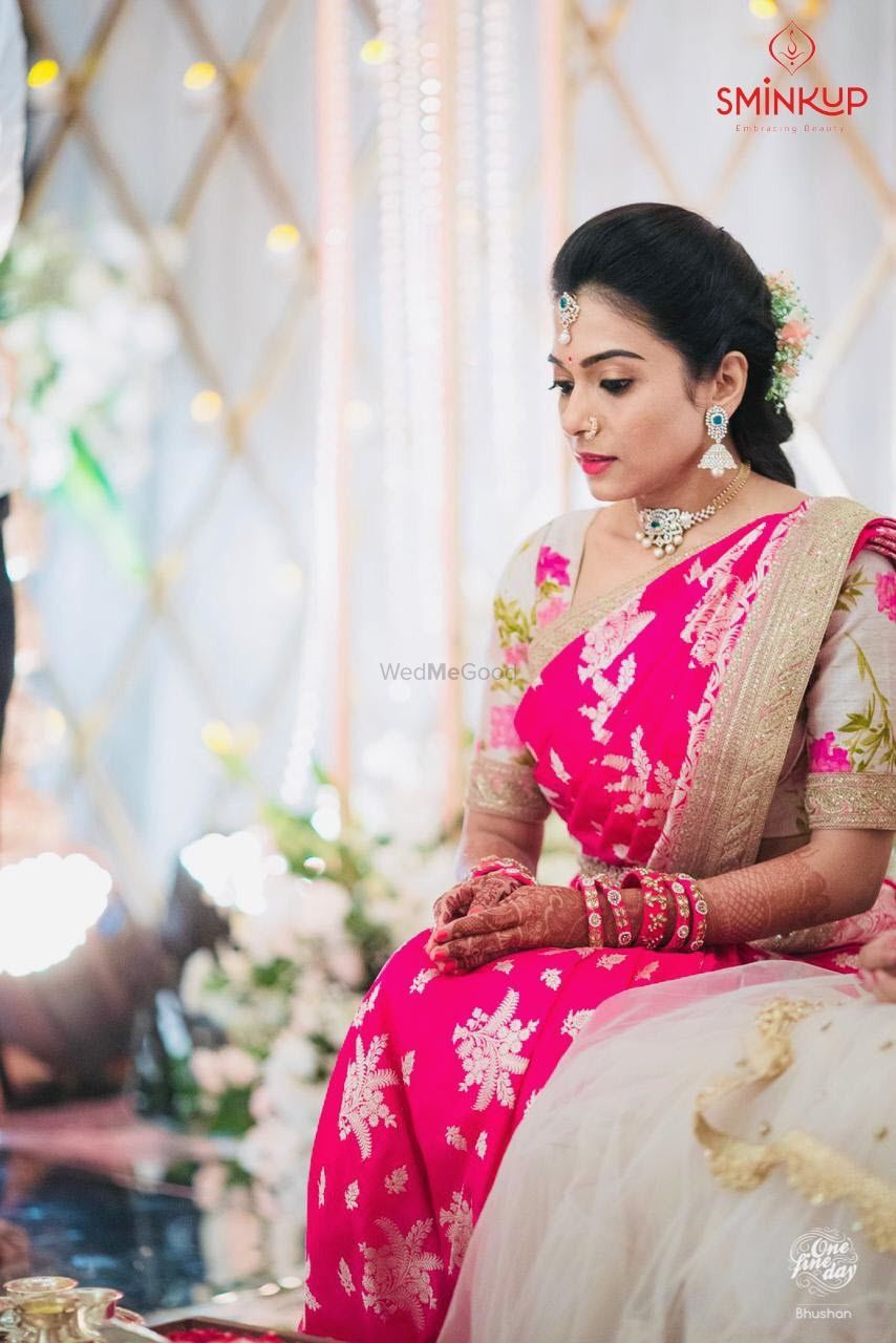 Photo of South indian bridal look in bright red saree