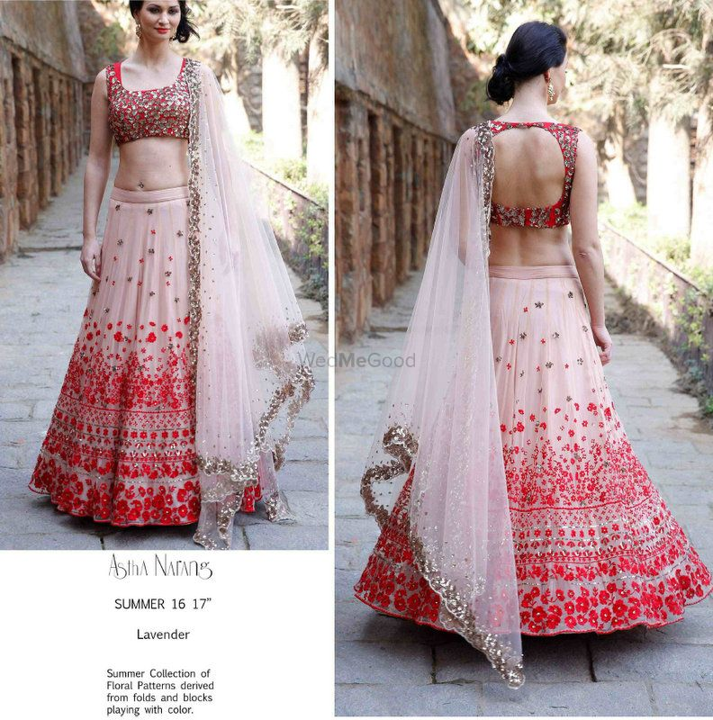 Photo of Red and Peach lehenga for Sangeet by Astha Narang