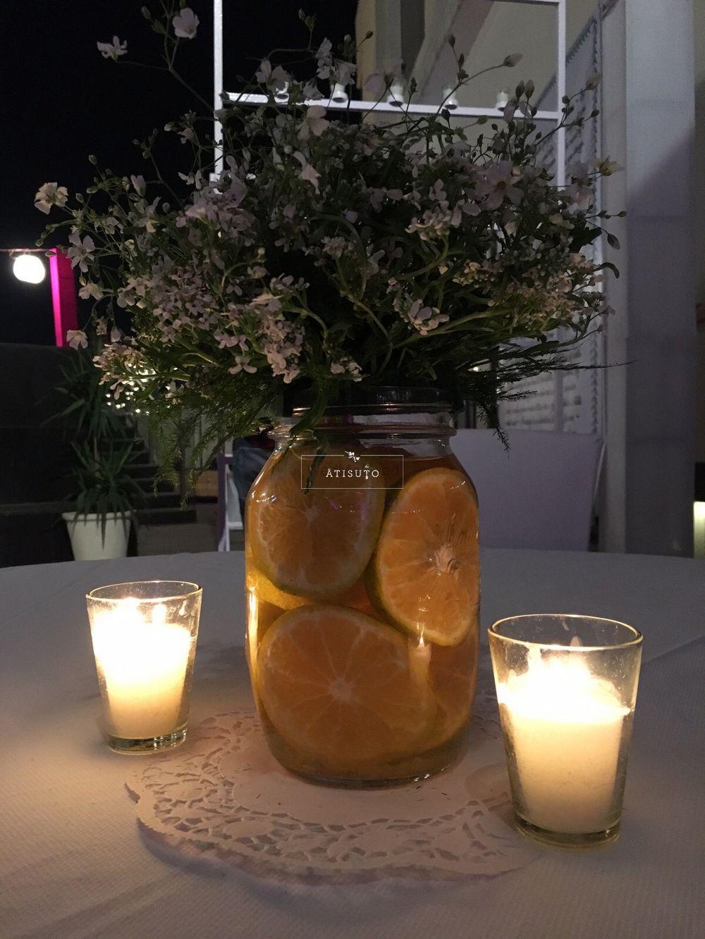 Photo of Mason Jars and Lemon Table Centerpiece